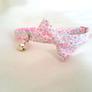 Handmade Cotton Ditsy Flowers Pink Bow cat kitten collar