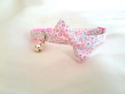 Handmade Cotton Ditsy Flowers Pink Bow cat kitten collar