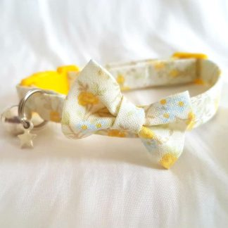 Yellow Flowers Cat Kitten Bow Collar Handmade