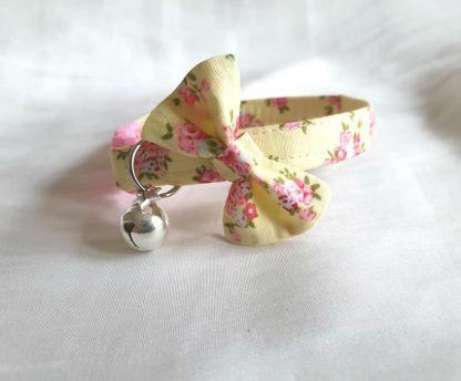 Cotton Yellow Pink Flower Cat Kitten collar with bow