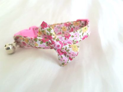 Cotton Pink Yellow Floral Cat Kitten Bow Safety collar