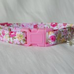 Pink and yellow flower cotton cat kitten safety collar_3