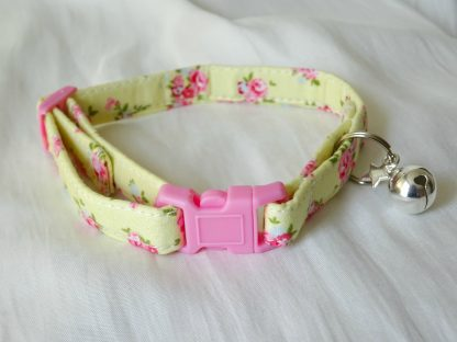 Yellow cotton pink flower cat kitten safety collar_3