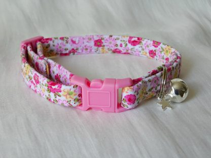 Pink and yellow flower cotton cat kitten safety collar_2