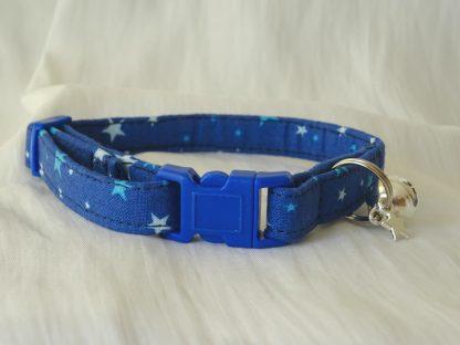 Handmade cotton blue stars cat kitten safety collar_1