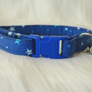 Handmade cotton blue stars cat kitten safety collar_2