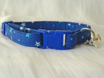 Handmade cotton blue stars cat kitten safety collar_2