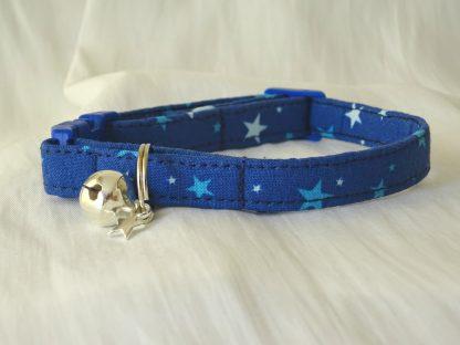 Handmade cotton blue stars cat kitten safety collar_3