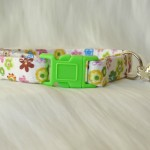 Handmade cream cotton and daisy flower cat kitten collar_1