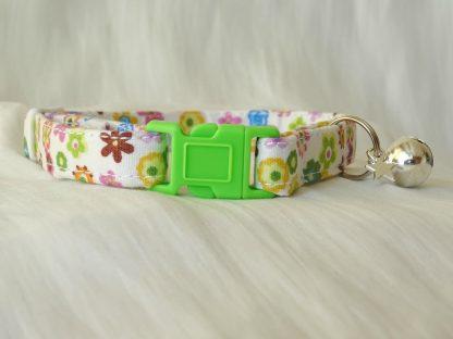 Handmade cream cotton and daisy flower cat kitten collar_1