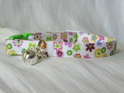 Handmade cream cotton and daisy flower cat kitten collar_2