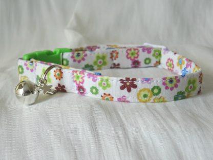 Handmade cream cotton and daisy flower cat kitten collar_3