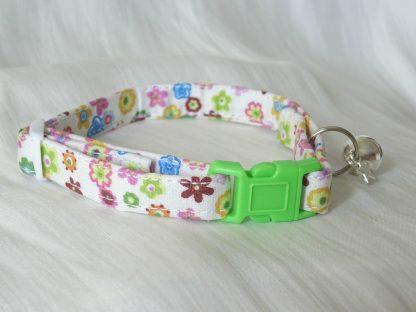 Handmade cream cotton and daisy flower cat kitten collar_4