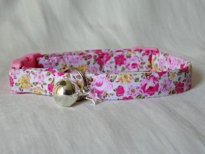 Pink and yellow flower cotton cat kitten safety collar_1