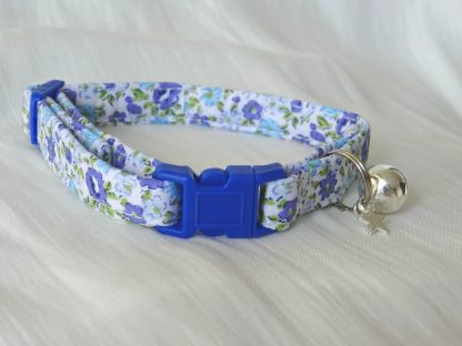 Handmade Blue Flowers Cat Kitten Safety Collar_1