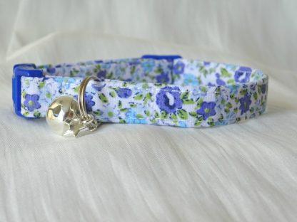 Handmade Blue Flowers Cat Kitten Safety Collar_2