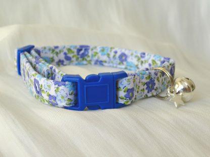Handmade Blue Flowers Cat Kitten Safety Collar_3