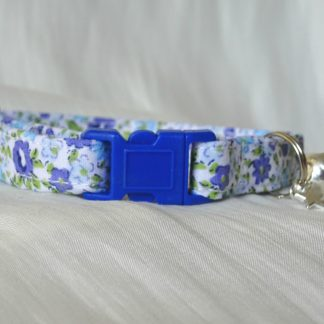 Handmade Blue Flowers Cat Kitten Safety Collar_4