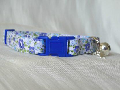 Handmade Blue Flowers Cat Kitten Safety Collar_4