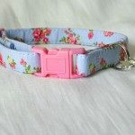 Blue cotton pink yellow flower cat kitten safety collar_1