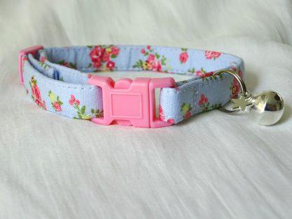 Blue cotton pink yellow flower cat kitten safety collar_3