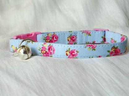 Blue cotton pink yellow flower cat kitten safety collar_2