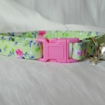 Handmade Green Pink Flowers Cat Kitten Safety Collar_2