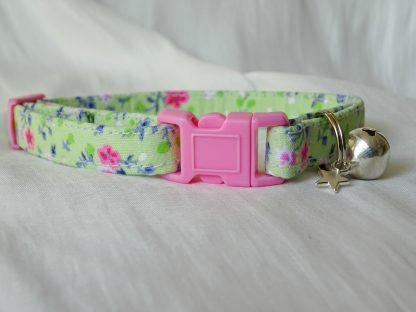 Handmade Green Pink Flowers Cat Kitten Safety Collar_2