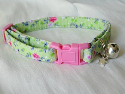 Handmade Green Pink Flowers Cat Kitten Safety Collar_1