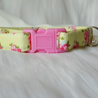 Yellow cotton pink flower cat kitten safety collar_1
