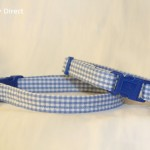 Handmade blue gingham cat kitten collar_1