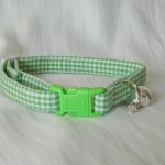 Handmade green gingham cat or kitten collar_1