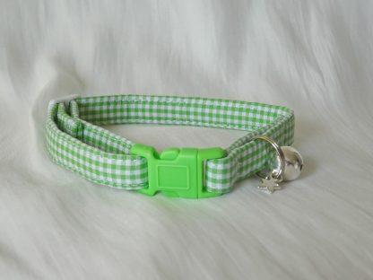 Handmade green gingham cat or kitten collar_1