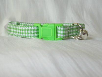 Handmade green gingham cat or kitten collar_2