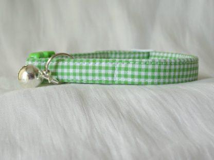 Handmade green gingham cat or kitten collar_3