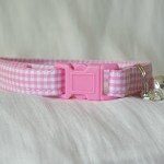 Handmade pink gingham cat or kitten collar_1