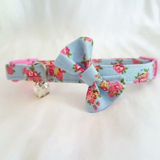 Blue and pink flower cotton bow cat kitten collar