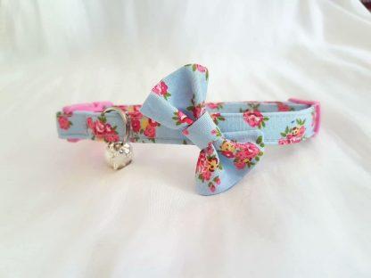 Blue and pink flower cotton bow cat kitten collar