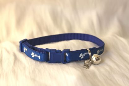 fishbones cat kitten safety collar_blue