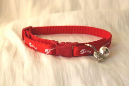 fishbones cat kitten safety collar_red