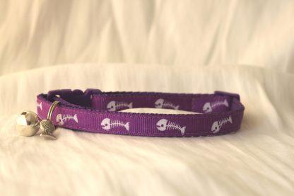 fishbones cat kitten safety collar_purple