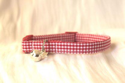 red gingham cotton cat kitten collar_1