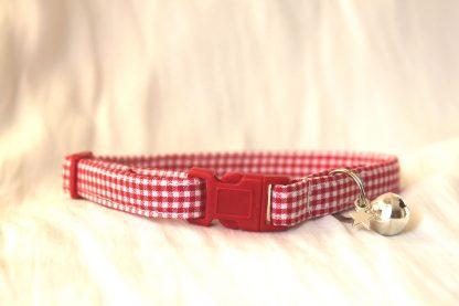 Red gingham cotton cat kitten collar 1
