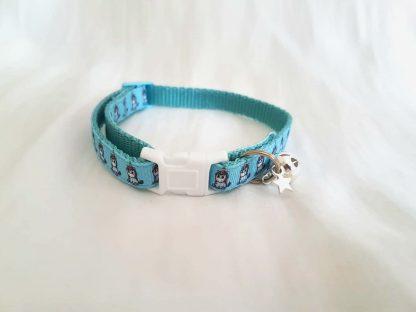 Unicorn fabric cat kitten collars handmade blue
