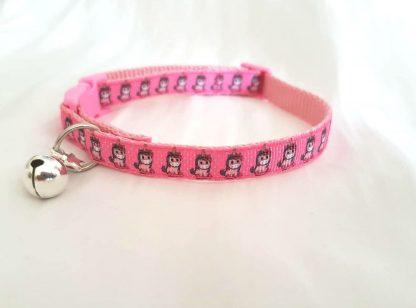 Unicorn fabric cat kitten collars handmade pink