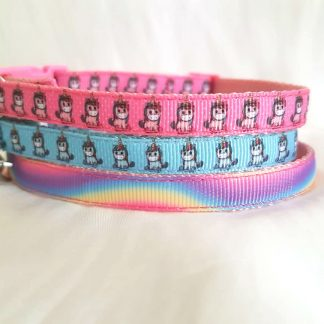 Unicorn fabric cat kitten collars handmade pink blue rainbow