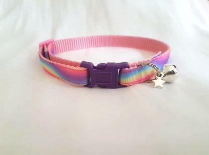 Unicorn fabric cat kitten collars handmade rainbow