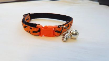 Halloween Cat Kitten Collar Flying Bats_ orange buckle