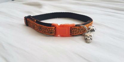Halloween Spider's Web Cat Kitten collar_orange buckle