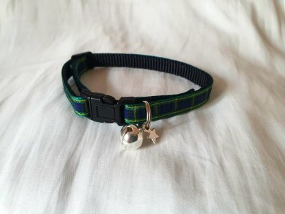 Scottish tartan cat kitten collar blue green_5